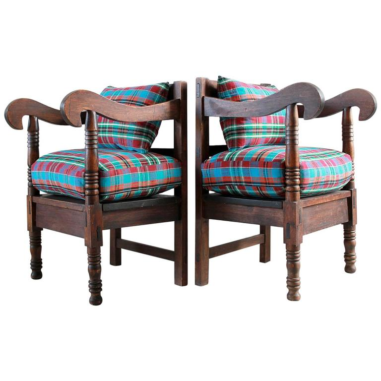 Pair of Wood Framed Armchairs with Curved Arms