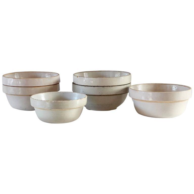 Low Round German Salt Glazed Ceramic Crock For Sale