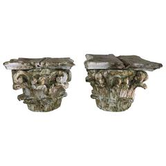 Pair of 19th Century Painted Capitals