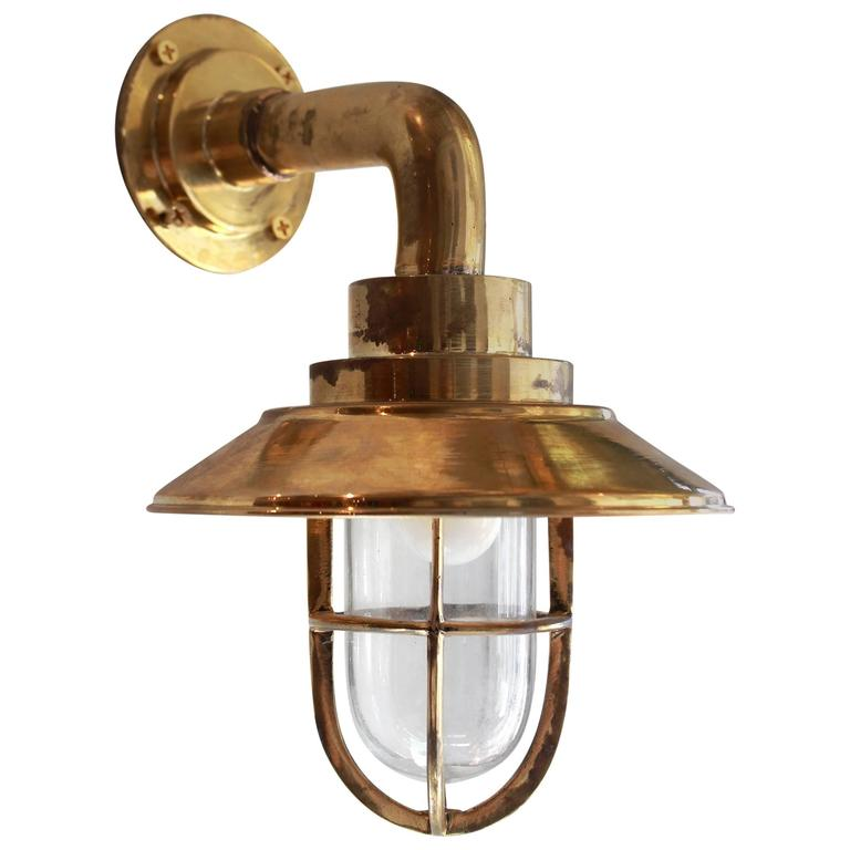 Brass Bulkhead Wall Lights : Vintage Nautical Brass Bulkhead Sconce at 1stdibs
