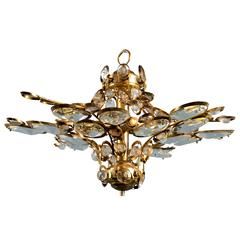 Vintage Gilt Brass and Glass Ceiling Light, Attributed to Palwa