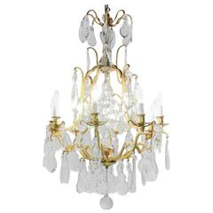 Antique French 1930's Gilt-and-Crystal 'Birdcage' Chandelier