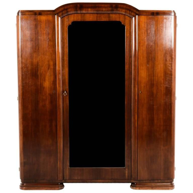 antique french art deco three door armoire circa 1930 at 1stdibs. Black Bedroom Furniture Sets. Home Design Ideas