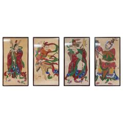 Grouping of Ancient Chinese Warriors Hand-Painted