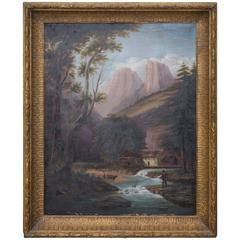Hudson River School Landscape Oil on Canvas, 19th Century