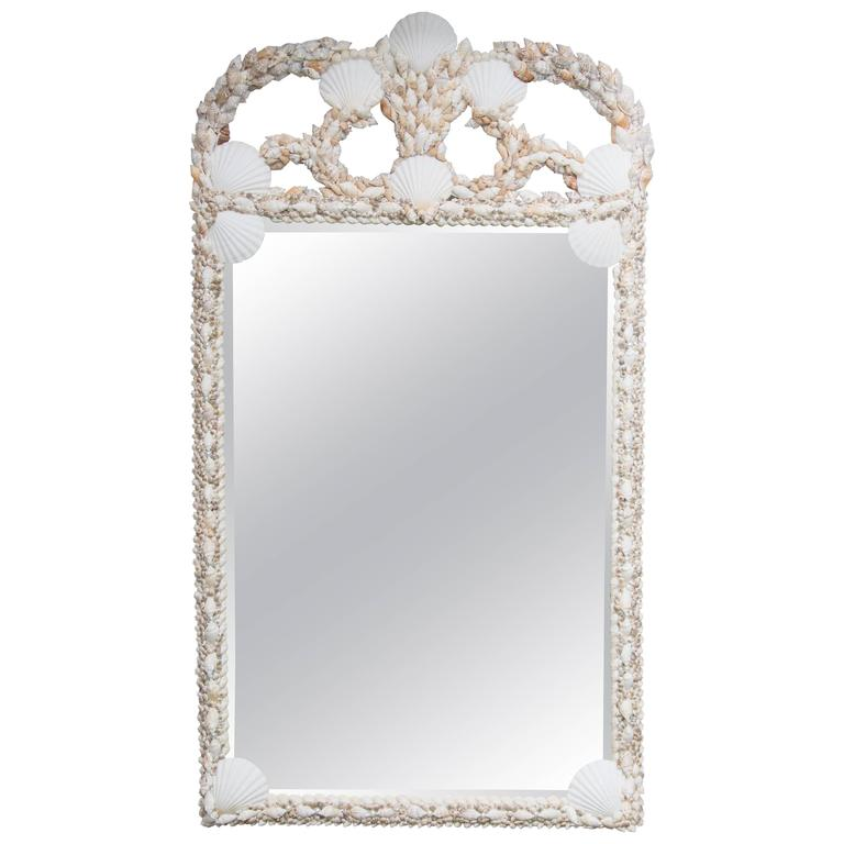 Custom Mirror with Shell-Encrusted Frame