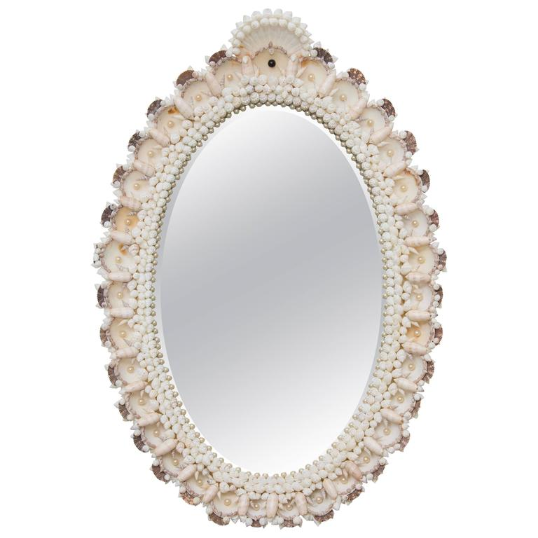Custom Oval Mirror with Shell-Encrusted Frame