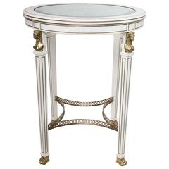 Empire Style Circular Side Table with Glass Inset Top