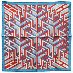 Hermès Pocket Square with Geometric Motif