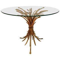 Italian Hollywood Regency Gilt Wheat Sheaf Table