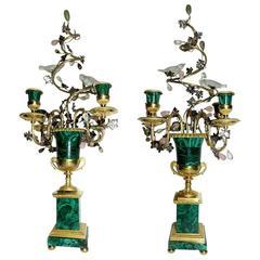 Claude Galle Jade Malachite Silver and Gilt Bronze Bird and Grape Candelabra