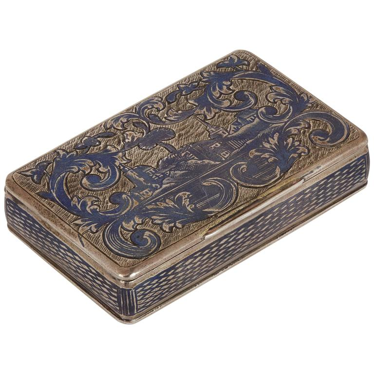 Antique Russian Silver Niello Snuff Box with Rectangular Hinged Lid For Sale