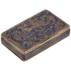 Antique Russian Silver Niello Snuff Box with Rectangular Hinged Lid