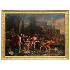 17th Century Oil Painting Escape from Troy School of Nicolas Poussin