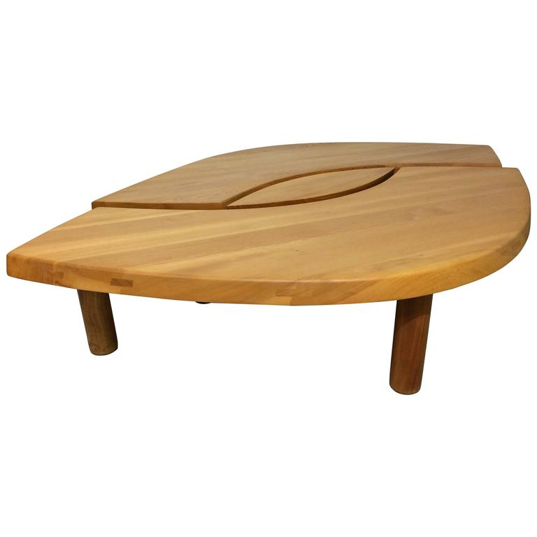 "Pierre Chapo ""The Eye"" Or ""T-22"" Solid Elm Coffee Table At"