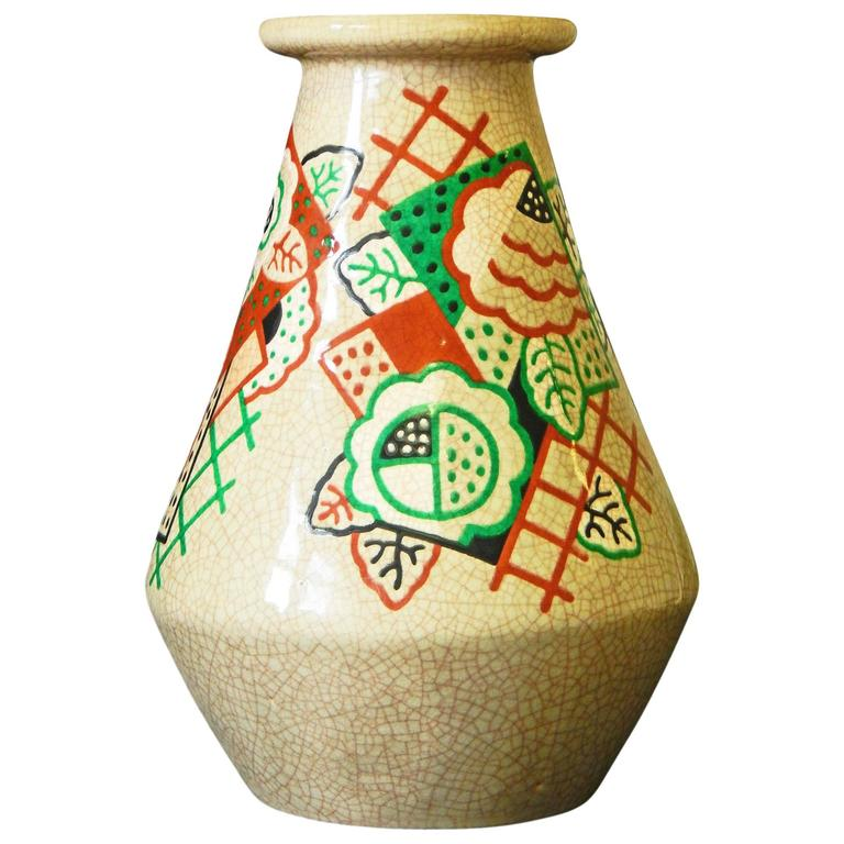 """Cubist Roses,"" Large and Rare Art Deco Vase by Olin for Primavera, France"