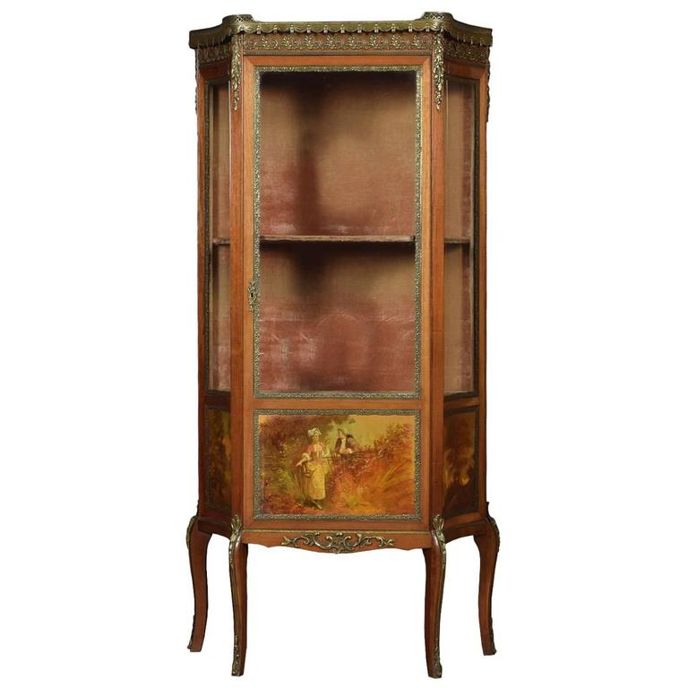 French Vernis Martin Mahogany Display Cabinet in the Louis XV Manner 1