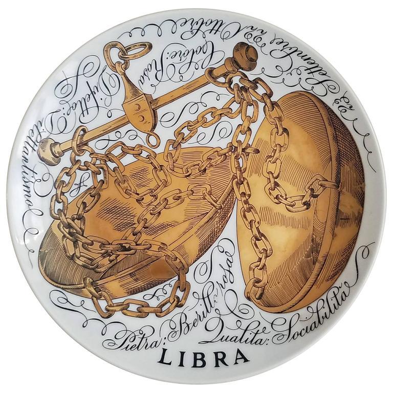Piero Fornasetti Libra Zodiac Porcelain Plate Made for Corisia in 1970