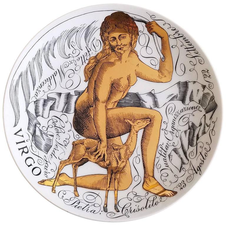 Piero Fornasetti Virgo Zodiac Porcelain Plate Made for Corisia in 1969
