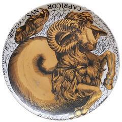 Piero Fornasetti Capricorn Zodiac Porcelain Plate Made for Corisia in 1964