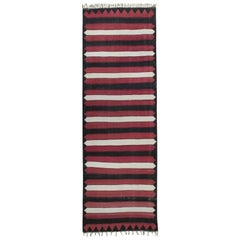 Red, White and Black Kilim 'Wide Runner' Rug