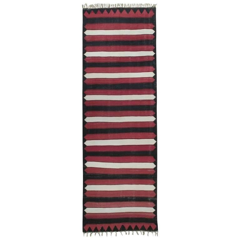 Red, White and Black Kilim 'Wide Runner' Rug For Sale