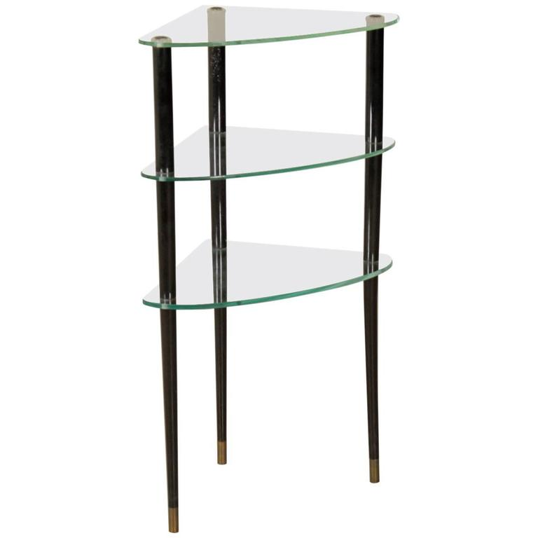 corner etagere in ebony stained wood manufactured in. Black Bedroom Furniture Sets. Home Design Ideas