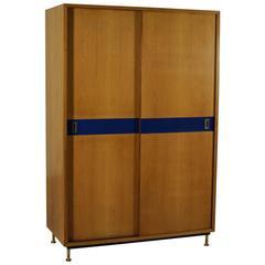 wardrobe with sliding doors ash veneer formica brass vintage italy 1950s antique armoires antique wardrobes english