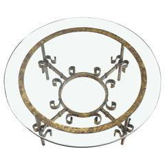 Gilded Wrought Iron Base Round Coffee Table
