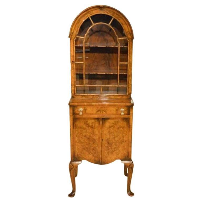 Beautiful Small Burr Walnut Georgian Revival Cabinet 1