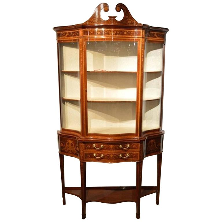 Exhibition Quality Mahogany Inlaid Serpentine Display Cabinet by Maple & Co For Sale