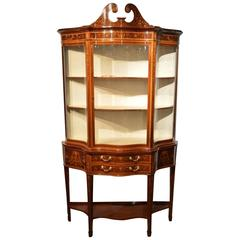 Exhibition Quality Mahogany Inlaid Serpentine Display Cabinet by Maple & Co