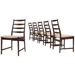Torbjørn Afdal Set of Six 'Ladder Back' Dining Chairs in Solid Rosewood