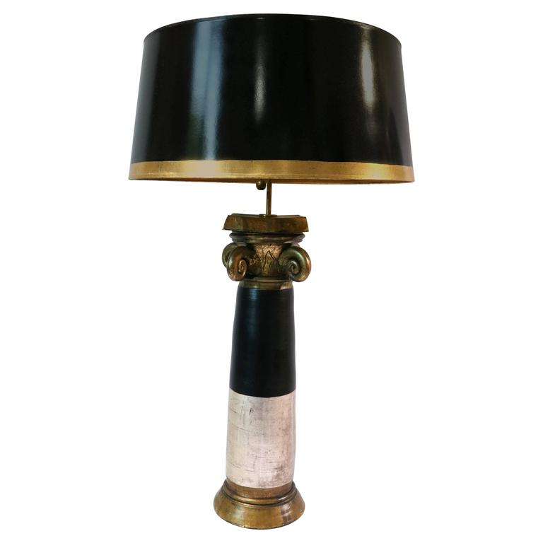 Hollywood regency table lamp black gold and silver by for Black and silver lamps