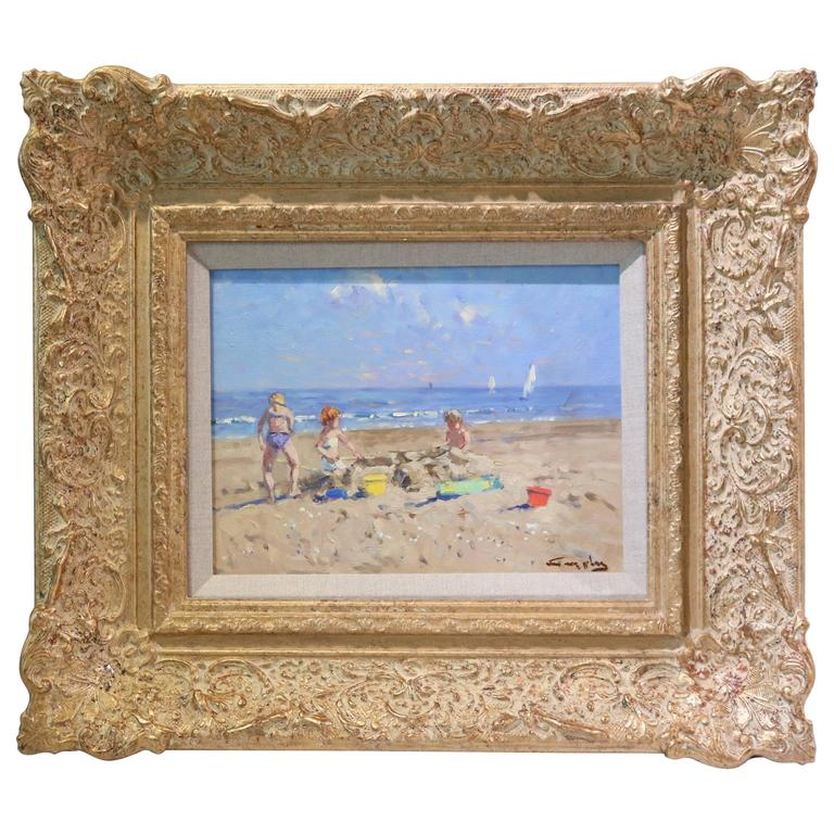 Oil on Board, Impressionist Beach Scene Painting by Niek van der Plas