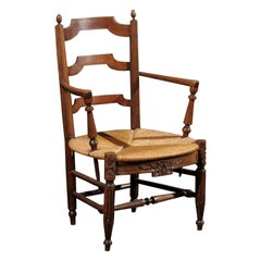 Walnut Ladderback Armchair with Rush Seat, France, circa 1865