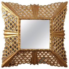 Italian Gilt Wood Mirror with Mercury Glass Insets