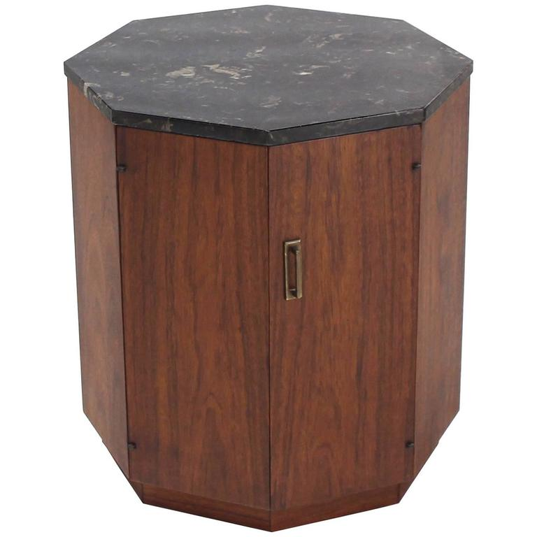 Octagon Marble Top Side Table With Compartment For Sale