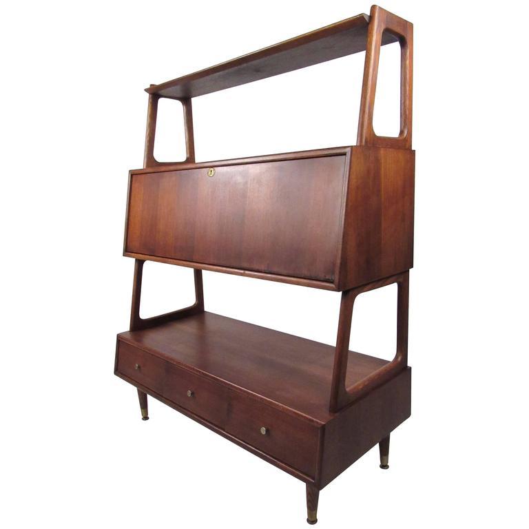 Mid-Century Drop Front Desk or Bookshelf Cabinet