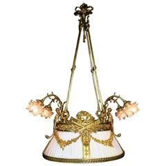 French 19th-20th Century Belle Epoque Gilt-Bronze Figural Nine-Light Chandelier