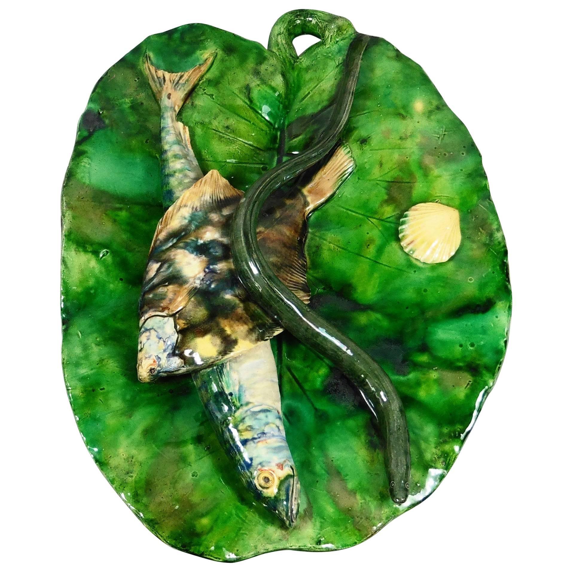 19th Century Majolica Palissy Leaf Wall Fishs Platter Alfred Renoleau