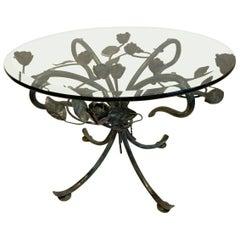 Italian Rose-Motif Side Table