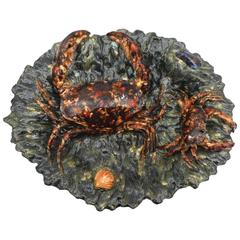 19th Century Majolica Palissy Crabs Wall Platter Alfred Renoleau