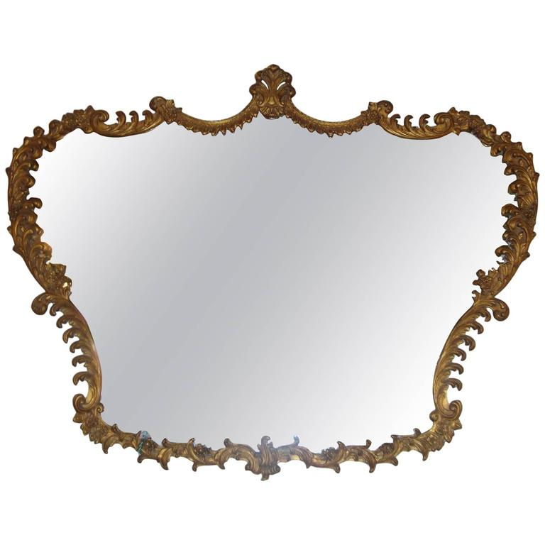 Italian Giltwood Baroque Carved Horizontal Mirror
