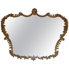 Italian Giltwood Baroque Carved Horizontal Mirror