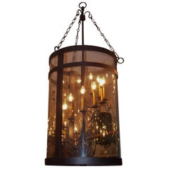 American Cast Iron Cylinder Hanging Glass Lantern, Early 20th Century
