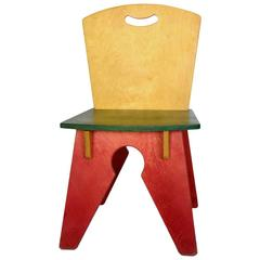 Red Yellow Green Notch Chair, USA, 1980s