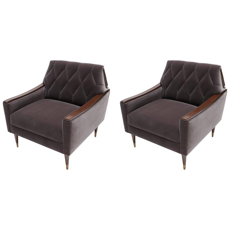 Pair of Custom 1960s Style Velvet Armchairs with Wood and Brass Details For Sale
