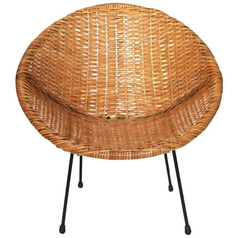 Round Coated Rattan Child Chair With Iron Legs Usa 1950s