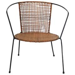 Curved Geometric Rattan Child Chair with Iron Legs, USA, 1950s